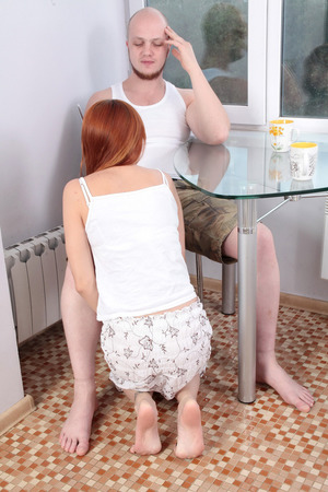Tattooed redhead gets her guy to fuck her beaver with a blowjob starter