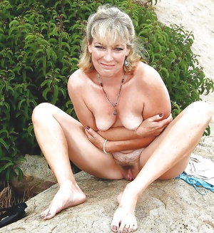 Nude females outdoors with hairy pussies
